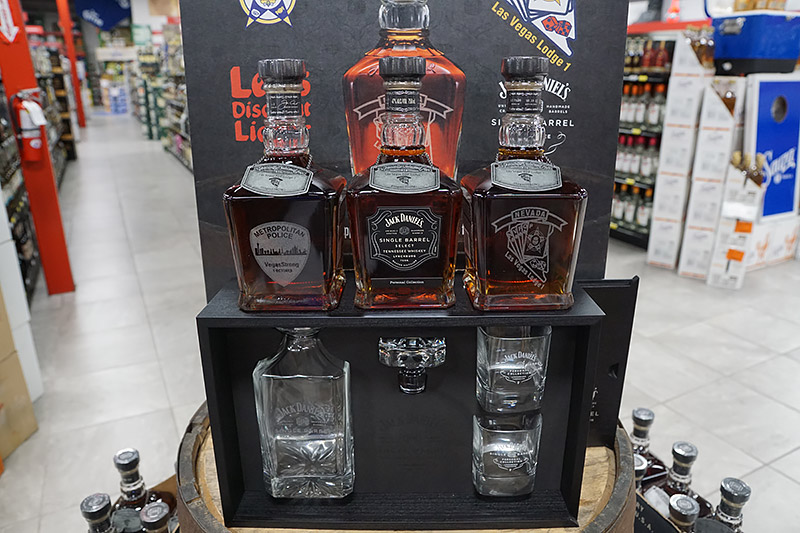 Close-up of a display of bottles of Jack Daniel's